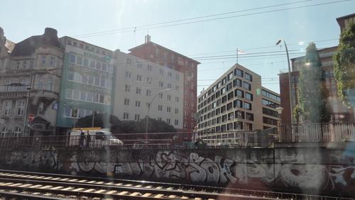 With the Train through Hamburg