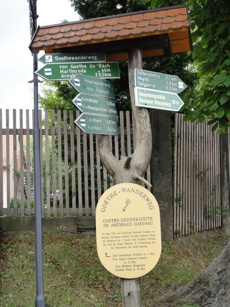 Ilmenau, Goethe Wanderweg, Wegweiser